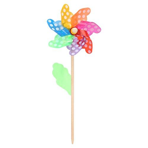 Exing Windrad Windmühlen Pinwheel Windspiel Windräder, Kunststoff + Holz 40x16cm - Gärten/Terrassen/Balkone Dekoration Spielzeug Für Kinder | Garten > Dekoration > Windräder | Exing