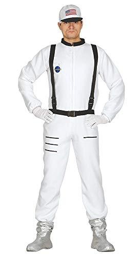 shoperama Kostüm Astronaut Herren Overall mit Basecap Raumfahrer Kosmonaut NASA ESA Space Weltraum Weltall Raumschiff Apollo, Größe:L