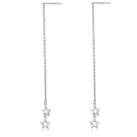 14ct 585Weiß Gold Diamantschliff Doppel Sterne Lange Kette Einfädler Ohrringe Frauen Schmuck (Kette Einfädler Ohrringe)