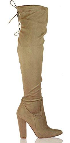 Shoesdays Damen über dem Knie, Schwarz - Mokka - Größe: 37.5