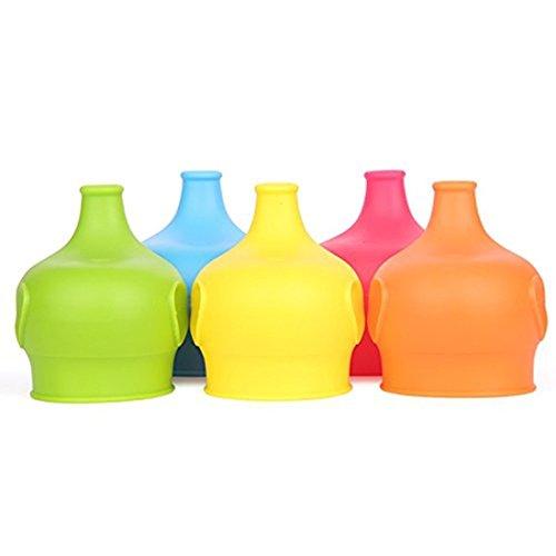 Abseed 5 Stücke Silikon Elefant Auslaufsicher Sippy Deckel Trinklernbecher für Gläser und Becher ,BPA frei,wiederverwendbar und geeignet für Kleinkinder Babys Kinder,Rot, Gelb, Blau, Grün ,Orange