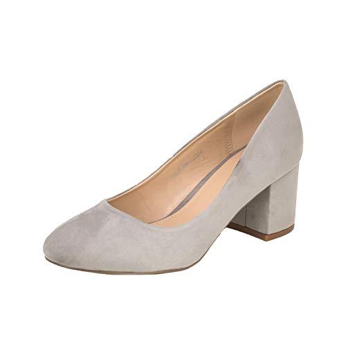 Fitters Footwear That Fits Donne Pompe Sesy Microfibra Décolleté con Tacco a Blocco (44 EU, Grigio Chiaro)