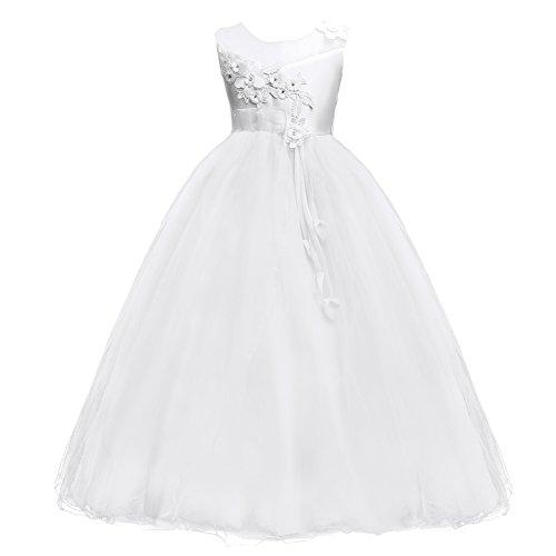 l Blume Kleider Blumenmädchenkleider Hochzeitskleid Brautjungfern Kleid Prinzessin Hochzeit Abendkleid Geburtstag Langes Kleid Festzug Cocktailkleid Ballkleid Weiß (Satin Blumenmädchen Kleider)