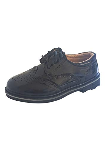 Kinderschuhe Festliche Jungen Schuhe Lackschuhe Kommunion Hochzeit Gr. 25 bis 36 (25 EU, Schwarz) (Jungen Kommunion Schuhe)