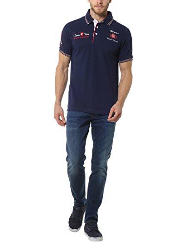 """James Tyler Herren Poloshirt """"Champion"""" mit Patches und Stichting Blau (Blau Navy)"""
