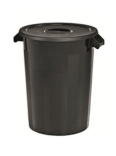 Kerafactum Großer Lagerbehälter Lager Futtertonne Behälter Tonne Zutatenbehälter mit Deckel universal aus Kunststoff schwarz 100 Ltr. Lagertonne farblich erweiterbar ingredients storage container