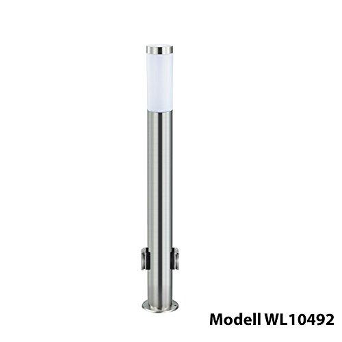 Grafner® XXL Edelstahl Aussenstandleuchte mit Steckdosen Wegleuchte Standleuchte Gartenleuchte E27 110cm hoch 2x Außensteckosen