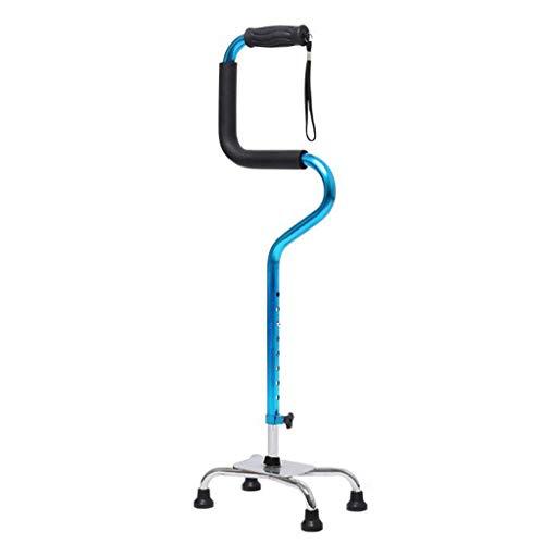 Bastones Ayuda para Caminar Ajustable Muletas Aleación de Aluminio Antideslizante Anciano Cuatro Patas asistido para levantarse 2 Colores 26 cm * 78 cm CHENGYI (Color : Blue)