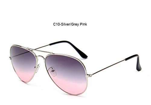 HUWAIYUNDONG Sonnenbrillen,Fashion MetalPilot Sonnenbrille Damen Classic Double Ocean Gläser Gold Frame Rot Orange Gläser Sliver-Grey Pink