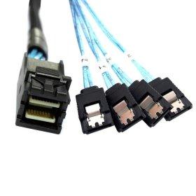 ChenYang Internes Kabel, Mini-SAS SFF-8643 Host auf 4 SATA 7-polige Festplatten-Fanout, 6 Gbit/s, Datenserver, Raid-Kabel, 50 cm -