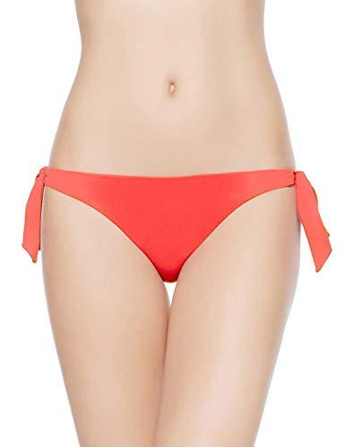 EONAR Damen Niedriger Bund Bikinihosen Seitlich zu binden Brazil-Bikinislip (M,Living Coral) (Butt Bottoms Bikini Scrunch)