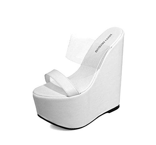 SHINIK Femmes PU Plate-forme Open Toe Epais Bottom Waterproof Slope Cool Pantoufles Talon creux Talons Sandales de bottes Noir Blanc White