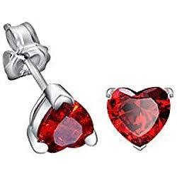 Pendientes Corazón Cristal Swarovski Elements Rojo - PDC B021 W - Blue Pearls