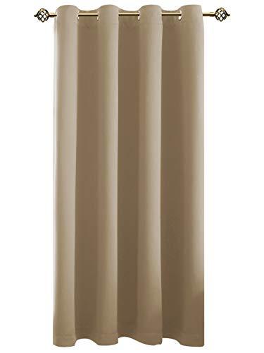 FLOWEROOM Vorhänge Blickdicht Verdunklungsgardine mit Ösen für Wohnzimmer Kinderzimmer, Geräuschreduzierung Wärmeschutz Thermo-Lichtundurchlässige Ösengardine Beige 175x140cm(HxB), 1 Stück