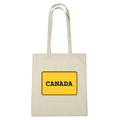 JOllify Canada borsa di cotone b4730 schwarz: New York, London, Paris, Tokyo natur: Ortsschild