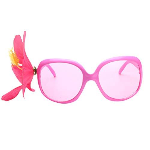 Amosfun Hawaiianische Party-Sonnenbrille-Hibiskus-lustige Gläser setzen Tropische Luna-themenorientierte Party-Foto-Requisiten auf