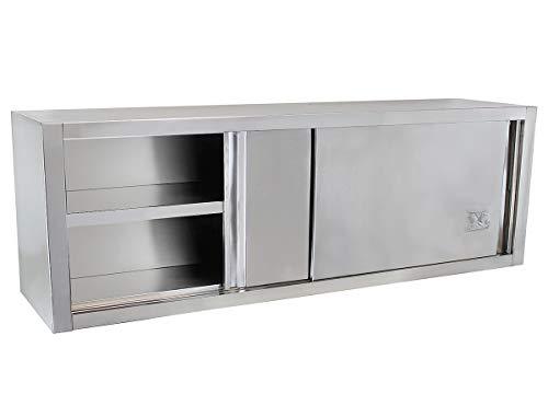 Beeketal 'BWS200' Gastro Küchen Wandhängeschrank aus Edelstahl mit auf Rollen gelagerte Schiebetüren, Hängeschrank mit fest verbautem Einlegeboden - Außenabmessungen (L/B/H): ca. 2000 x 400 x 650 mm -