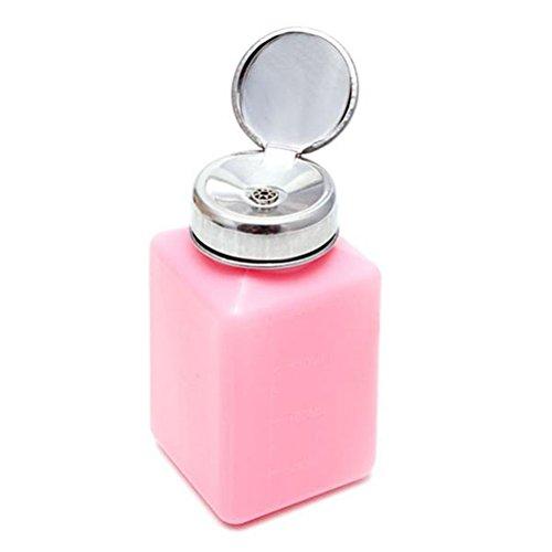 BESTOMZ Nagellackentferner Flasche Pumpspender 200ML Leere Dispenser Flasche für die Lagerung von flüssigen Alkohol (Rosa) (Alkohol Flasche Lagerung)
