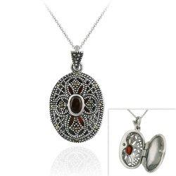 Filigranes Medaillon / Ketten-Anhänger mit Markasit und Granat, Sterling Silber (2149) (Sterling Silber Diamant-medaillon)