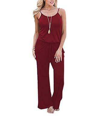 Aswinfon Femme Combinaison Pantalon Ete Longue Sexy à Bretelle Sans manches Casuel Imprimé Fleurs Jumpsuit Rompers (B-Bourgogne, S)