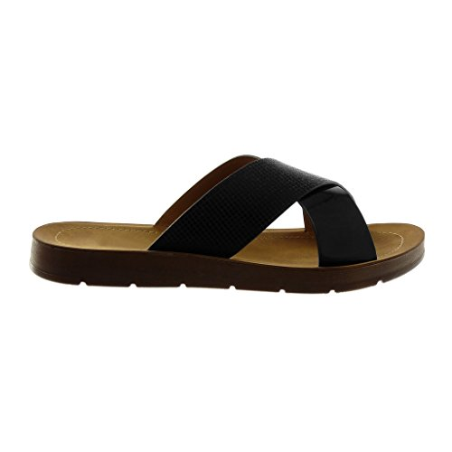 Angkorly Chaussure Mode Mule Sandale Slip-On Claquettes Femme Lanières Croisées Brillant Verni Talon Plat 2 cm Noir