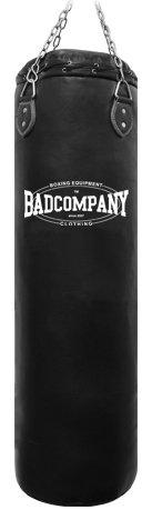 Bad Company Boxsack inkl. Heavy Duty Vierpunkt-Stahlkette I Vinyl Punching Bag, ungefüllt I 120 x 35 cm - Schwarz