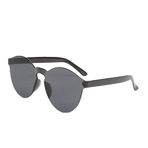 fazry Damen Herren Mode Oval Form Rahmen Bonbonfarben Rahmenlos Transparent Sonnenbrille(Grau)