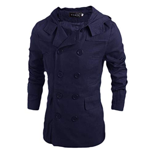 CuteRose Men Regular Fit Double Breasted Pure Colour Hooded Trench Coat Jacket Navy Blue L Mens Double Breasted Trench Coat