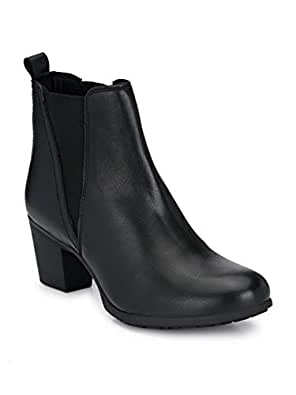 Delize Black Mid heal Ankle Boots for Women's (36, Black)