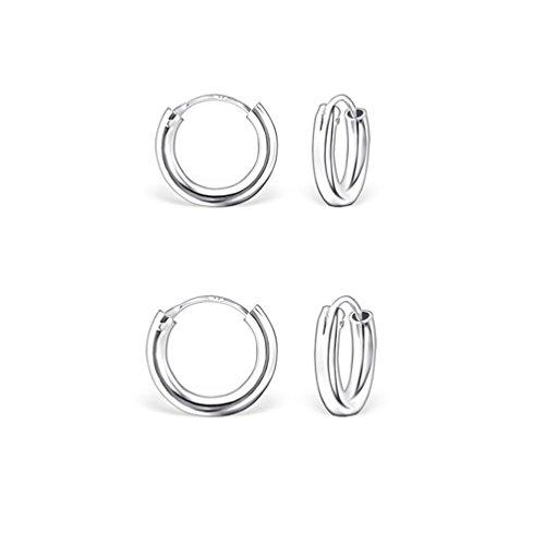 DTP Silver - Conjunto de 2 pares de Pendientes de Aro - Plata 925 - Espesor 2 mm, Diámetro 10, 12 mm