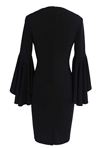 f23c8ee3b04f VFSHOW Womens Sexy V Neck Floral Lace Bell Sleeve Cocktail Sheath Dress