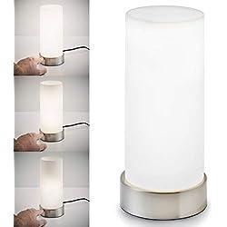 B.K. Licht lampe de chevet intensité variable, 3 niveaux de luminosité, lampe de table avec fonction Touch, lumière de lecture, luminaire chambre enfant, E14, 230V, IP20
