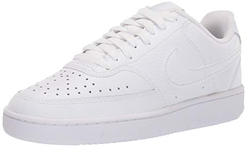Nike Womens Court Vision Low Sneaker Basketball Shoe, White/White-White, 41 EU