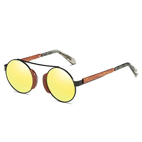 WULE-Sunglasses Unisex UV400 Schutz Holzrahmen Polarisiertes Licht Harz Linse HD Visuelle Starke Auswirkungen Unisexyellow Retro Coating Film Sonnenbrille (Farbe : Yellow)