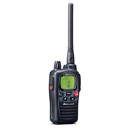 Midland G9 Pro Funkgerät, 16 PMR446-69 LPD Kanäle, Wasserfest IPX4, High/Low Power Sendetaste, Notruffunktion, inkl. Standlader und 1800mAh Akkus