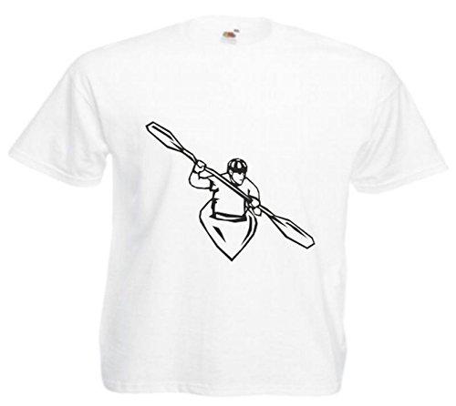 Motiv Fun T-Shirt Kajak Wasserport Rudern Mega Sports Hobby Club Motiv Nr. 4703 Weiß
