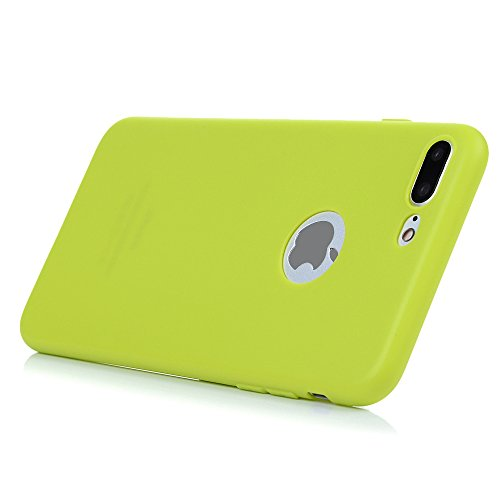 """KASOS iphone 7 Plus 5.5"""" Housse Case Bumper Étui Coque de Protection en TPU Souple Solide de Couleur Silicone Ultra Hybrid Ultra Mince Léger Modèle Dessin Housse Coque pour iphone 7 Plus 5.5"""" -Noir Jaune Vert"""