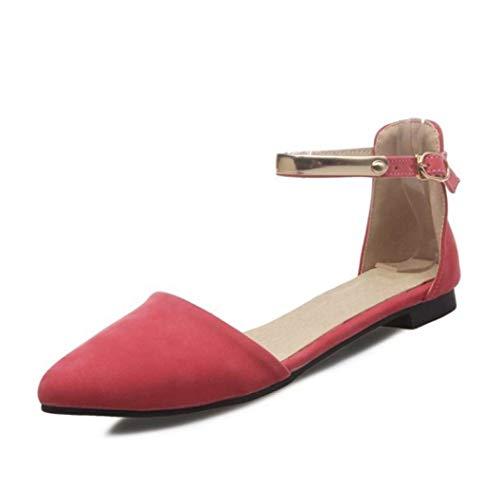 Clásico de Verano para Mujer Correa de Tobillo Sandalias Planas Punta Estrecha Hebillas Correas Lado Abierto Recorte Ballet Zapatos de Vestir