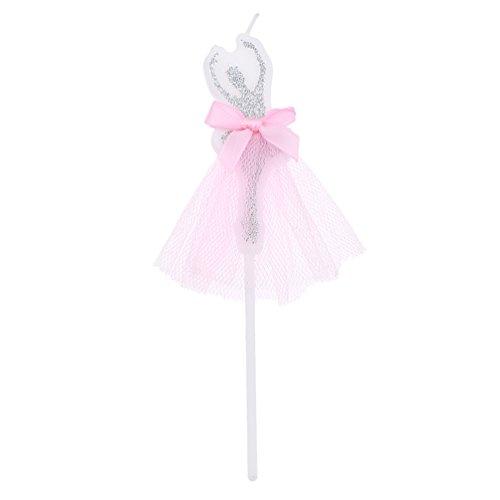 hongma Kerze Kuchen Topper Kuchen, Kerze Dekoration Ballerina Kleid Spitze für Geburtstag Hochzeit Party Supplies, silber, length 14cm (Ballerina Dekoration Geburtstag Party)