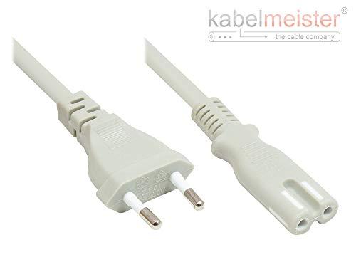 Kabelmeister EURO-Netzkabel - 1 m - Euro-Stecker Typ C (gerade) an C7/Euro 8 Buchse (gerade) - KUPFERLEITER - 0,75 mm² - für TV, Konsole, Radio, Netzteil - GRAU - Qualitätware vom KABELMEISTER - Radio-konsole