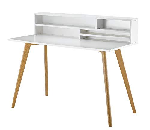 CAGUSTO® Sekretär Eva in weiß matt, 120 x 60 x 99, Beine in Eichenholz massiv, Schreibtisch im skandinavischem Design
