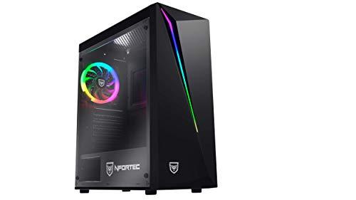 Nfortec Lynx Torre Gaming Negra RGB (Cristal Templado) Compatible con Placas ATX, Mini-ATX e itx y Ventilador RGB Incluido en la Parte Trasera.