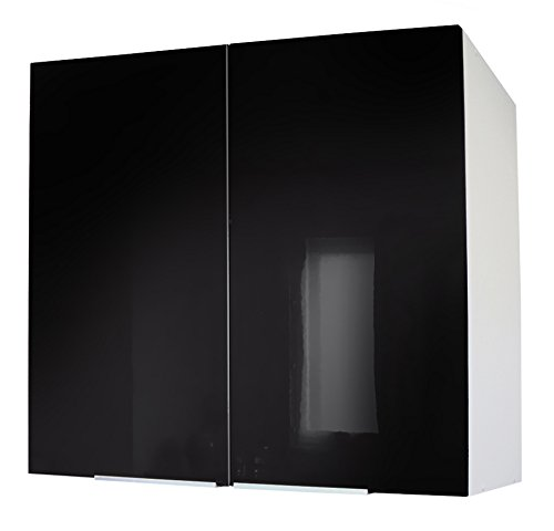 Berlenus CP8HN Meuble Haut de Cuisine avec 2 Portes Noir Haute Brillance 80 cm