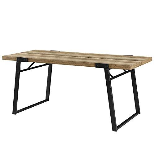 [en.casa] Tavolo da Pranzo 180 x 80 x 77 cm Design Tavolo a 6 posti Acciaio, MDF Effetto Legno