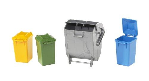 Brüder Kleines Zubehör (Bruder 02607 TOYS Zubehör: Mülltonnen-Set (3 kleine und 1 große Tonne))