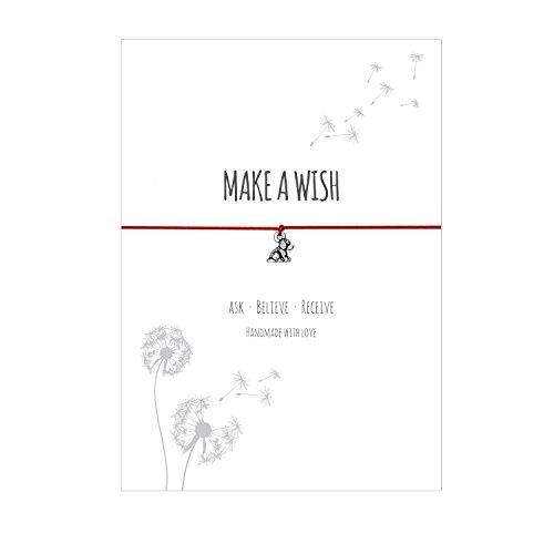 Glücksschmiedin Make a Wish - Wunsch Armband mit Hund Anhänger Versilbert, Elastischem Textilband in rot und liebevoller Karte: Ask-Believe-Receive