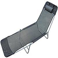 Outsunny Tumbona reclinable para jardin playa o piscina, acero y textilene, Negro, 182 x 56x 24.5 cm