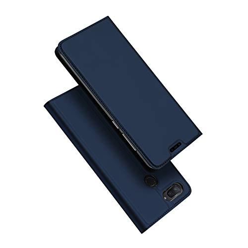DUX DUCIS Funda Xiaomi Mi 8 Lite, PU Cuero Flip Folio Carcasa [Magnético] [Soporte Plegable] [Ranuras para Tarjetas] para Xiaomi Mi 8 Lite (Azul Marino)