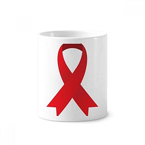 DIYthinker Red Ribbon HIV Bewusstseins-Welt-AIDS-Tag Keramik Zahnbürste Stifthalter Tasse Weiß Cup 350ml Geschenk 9.6cm x 8.2cm hoch Durchmesser