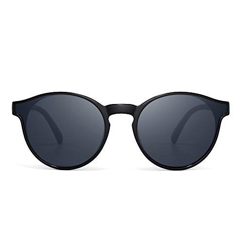 JIM HALO Rund Spiegel Sonnenbrille Mode Kreis Getönt Flach Schatten Linsen Damen Herren(Schwarz/Grau)
